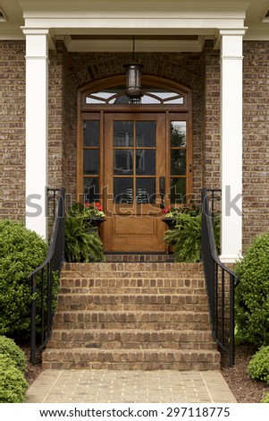 Wooden Front Door Traditional Style Home Stock Photo Edit Now