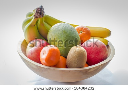 Wooden Fruit Bowl - stock photo