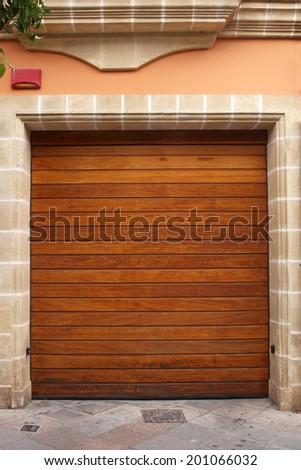 wooden garage door - stock photo