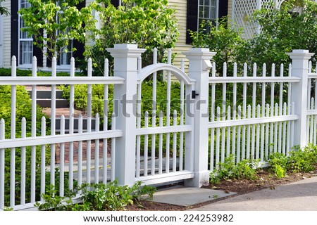 Wooden Gate and Fence - stock photo