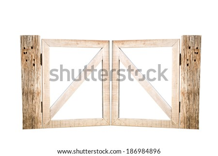wooden gates fence - stock photo