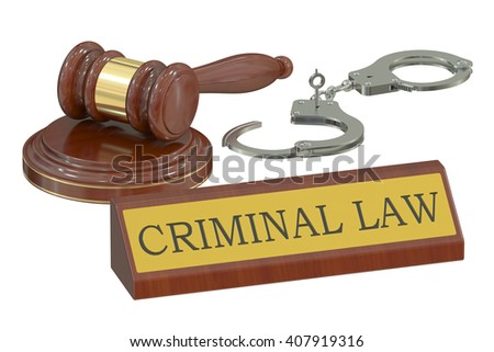 Wooden gavel and handcuffs, criminal law concept. 3D rendering - stock photo