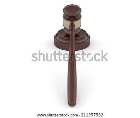 Wooden gavel and soundboard on a white background.