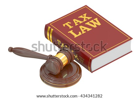 Wooden Gavel and Tax Law Book, 3D rendering isolated on white background - stock photo