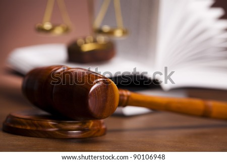 Wooden gavel barrister, law - stock photo