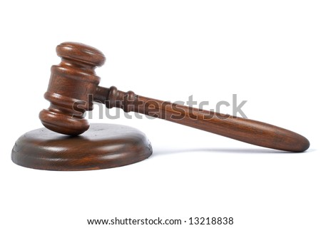Wooden gavel from the court with soft shadow on white background - stock photo