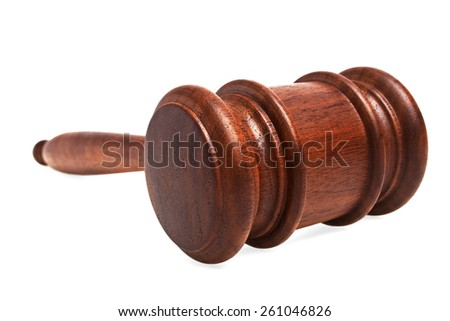 Wooden gavel on a white background - stock photo