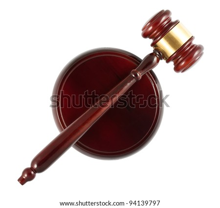 Wooden gavel top view isolated on white background