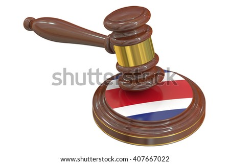 Wooden Gavel with Flag of Costa Rica, 3D rendering - stock photo