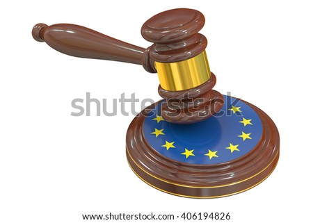 Wooden Gavel with Flag of EU, 3D rendering - stock photo