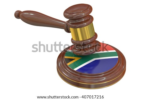Wooden Gavel with Flag of South Africa, 3D rendering - stock photo
