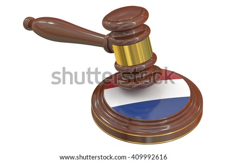 Wooden Gavel with Netherlands, 3D rendering - stock photo
