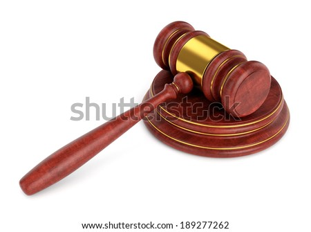 Wooden gavel with stand isolated on white background. Law and auction concept.