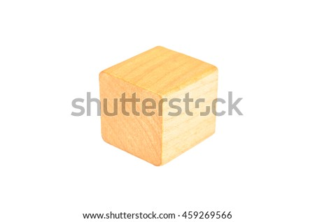 Wooden geometric cube block isolated on white background