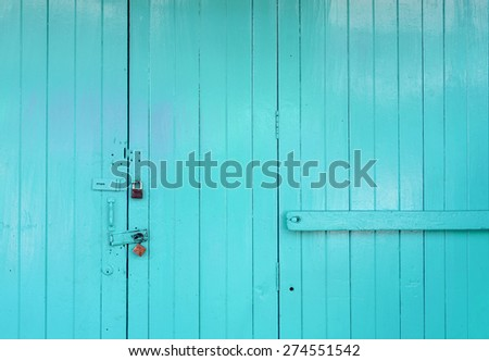 Wooden green door with space background