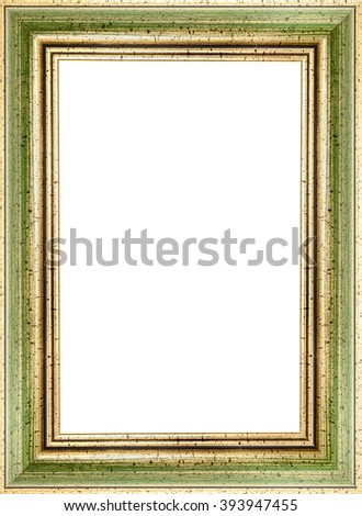 Wooden Green Vintage Picture Frame Isolated Stock Photo (Royalty ...