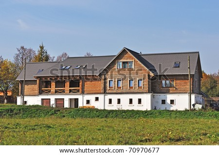 Wooden guesthouse in ancient russian town Suzdal - stock photo