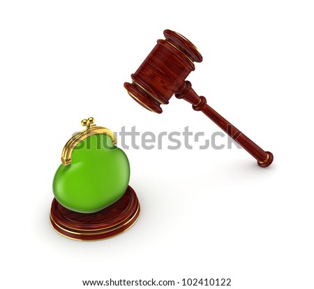 Wooden hammer and green purse.Isolated on white background.3d rendered. - stock photo