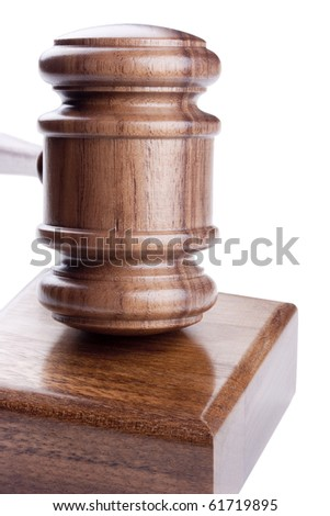 Wooden hammer used in court and in auctions.