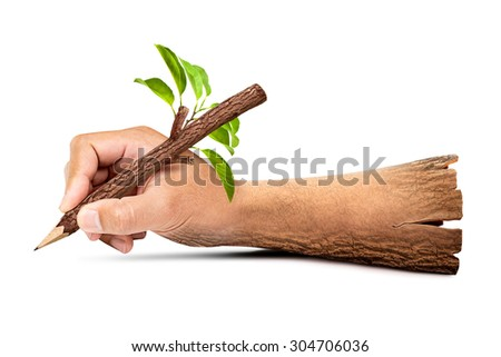 Wooden hand holding natural pencil isolated on white background with clipping path in concept of human be harmonious with the nature - stock photo