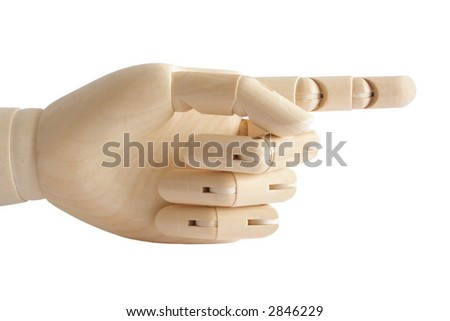Wooden hand showing direction - stock photo