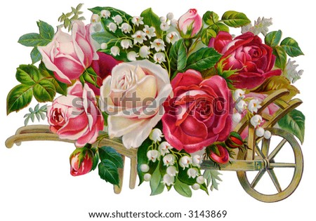 Wooden handcart full of roses - circa 1890 Mother's Day greeting card illustration - stock photo