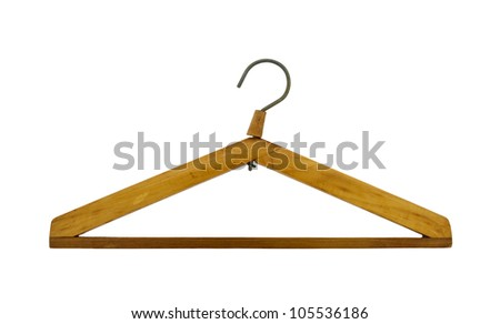 wooden hanger isolated on a white background - stock photo