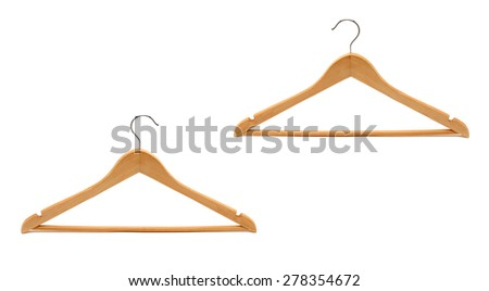 Wooden hanger, it is isolated on a white background - stock photo