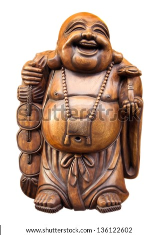 Wooden happy buddha - isolated on white. Clipping path included. - stock photo