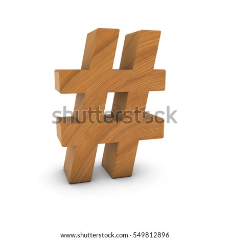 Wooden Hash Symbol Isolated on White with Shadows 3D Illustration