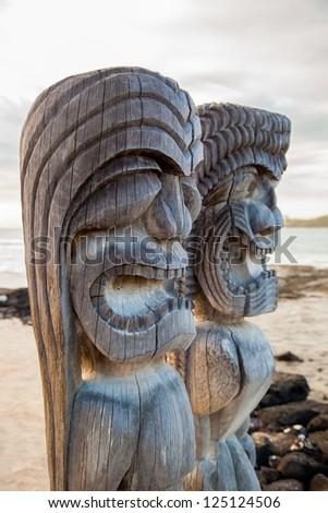 Wooden Hawaiian historical statues, Big Island, Hawaii - stock photo