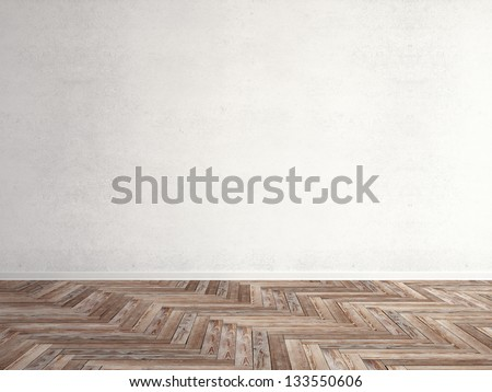 wooden herringbone parquet with wall - stock photo
