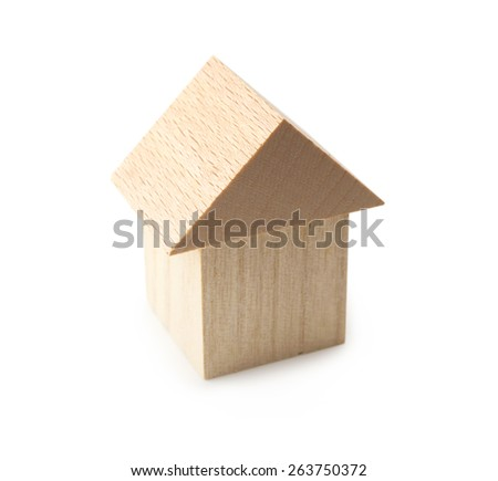 Wooden home or house isolated on white. - stock photo