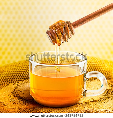 Wooden honey dipper in the glass on honeycomb - stock photo