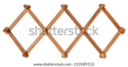 Wooden hook for hanging wall, isolated with clipping path included. - stock photo