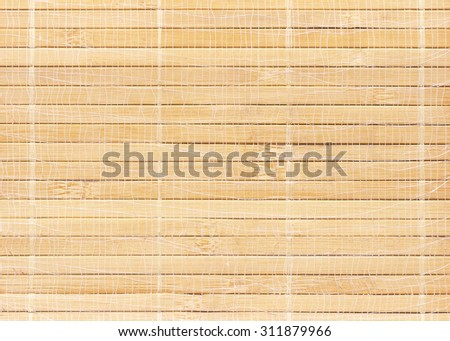 Wooden horizontal jalousie. Back side of bamboo brown straw mat with rope mesh as abstract texture background composition, top view above. Mat, Backdrop, Interior, House, Art, Vintage, Style, Comfort. - stock photo