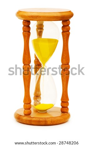 Wooden hourglass isolated on the white background - stock photo