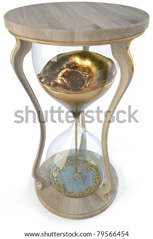 wooden hourglass with golden stream flowing down. isolated on white. - stock photo