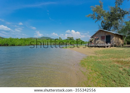 wooden house along the lush  riverside