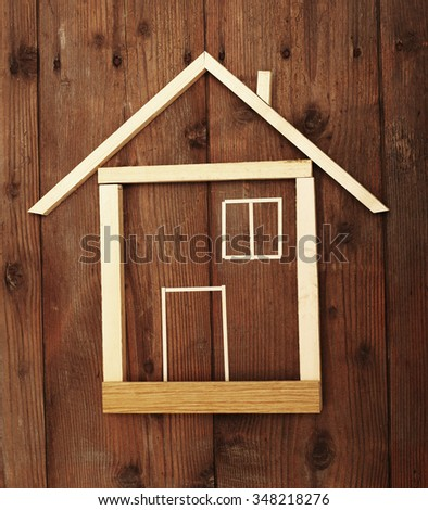Wooden house construction close up - stock photo