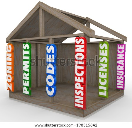 Wooden house frame new construction project beams zoning, permits, codes, inspections,  - stock photo