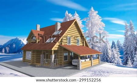 wooden house in mountains