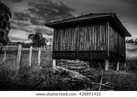 Wooden house in the farm, Brazil.