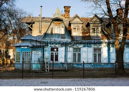 Wooden house in Vilnius, Zverynas district. - stock photo