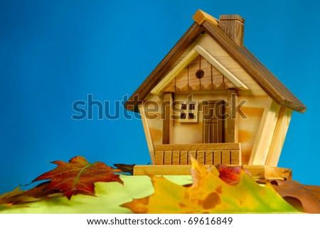 Wooden house on a hill covered with fallen autumn leaves under blue sky