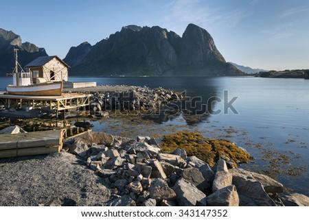 Wooden house on Hamnoy Island, Lofoten, North Norway - stock photo