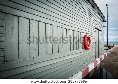 Wooden house store at sea ports  - stock photo