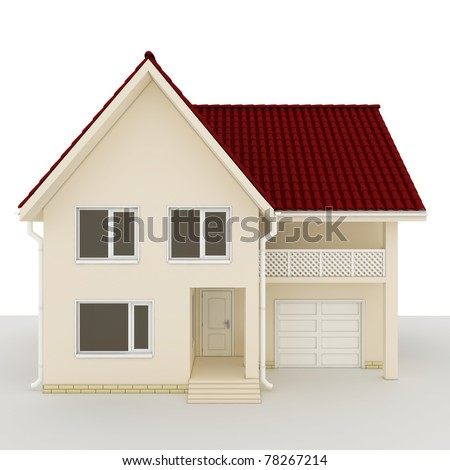 wooden house with a roof made of tiles - stock photo