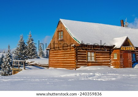 Wooden house with grill-barbeque with fresh snow and green trees - stock photo
