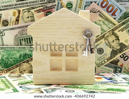 Wooden house with keys on background of dollar bills. 3d illustration - stock photo